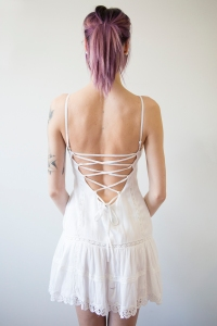 Gauze laced back baby doll dress.