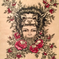 Jake Carruthers - Fantasy - Ink on Wood Panel - 42 x 48
